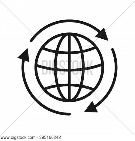 Globe With Arrows Around Vector Icon Isolated On White Background