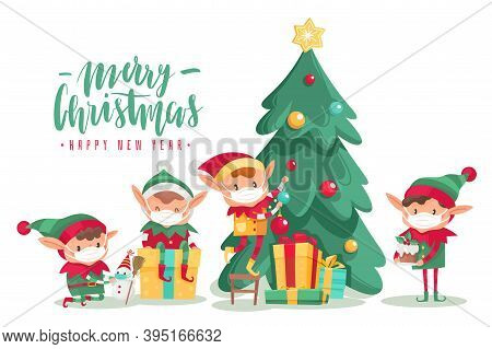 Christmas Characters Wearing Masks Poster. Cartoon Vector Elves In Protective Mask, Decorated Tree W