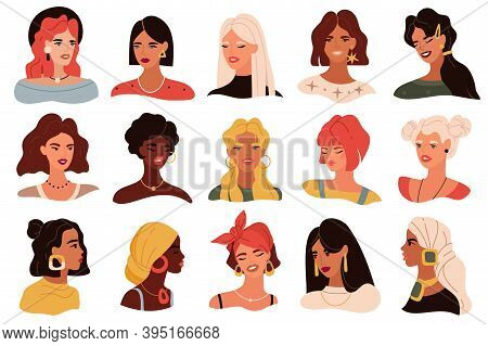 Female Portrait. Women Trendy Images Collection, Modern Multi Ethnic Girls Heads Icons, Profile And