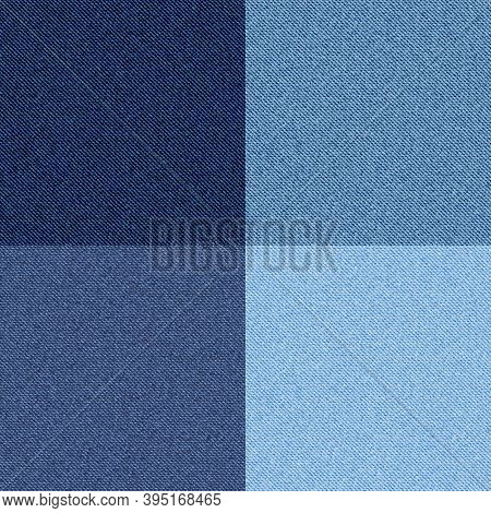 Denim Texture. Seamless Blue Checkered Traditional Pattern, Cotton Tissue Fashion Print Template, Mo