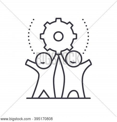 Production Wheel Icon, Linear Isolated Illustration, Thin Line Vector, Web Design Sign, Outline Conc