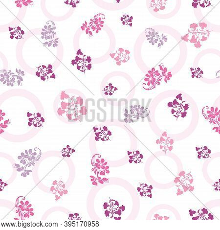 Vector Trendy Monochrome Flowers Seamless Pattern Background On Polka Doted Surface. Perfect Use For
