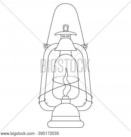Lamp. Kerosene Lamp. Vector Illustration. Outline On An Isolated White Background. Doodle Style. Ske