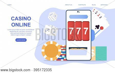 Casino And Gambling Concept. Mobile App, Application With Online Poker, Internet Gambling, Online Ca