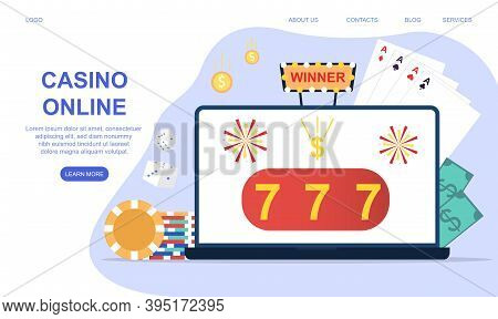 Casino And Gambling Concept. Website Or Web Page Template With Laptop Monitor With Online Poker, Int