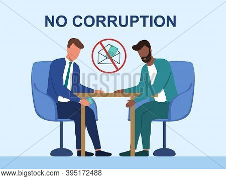 Businessman Passing Cash Money Under The Table To His Corrupted Partner. Business Bribery And Kickba