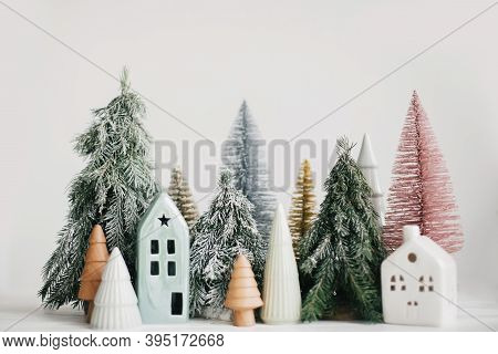Merry Christmas! Christmas Scene, Miniature Holiday Village. Christmas Little Houses And Trees