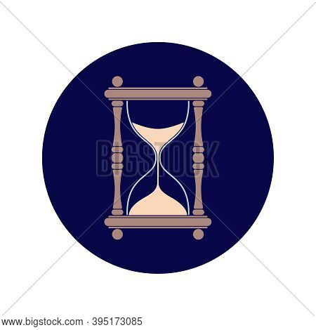 Hourglass Graphic Icon. Sandglass Sign In The Circle Isolated On Isolated On White Background. Time