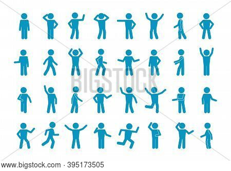 Movement Stick Man Set. Symbol Reflection And Joyful Blue Greeting Simple Poses And Active Actions A
