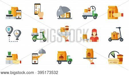 Snacks Ordering And Delivery Icon Set. Web Route Nearest Cafe 24 Hour Restaurant Online Order From S