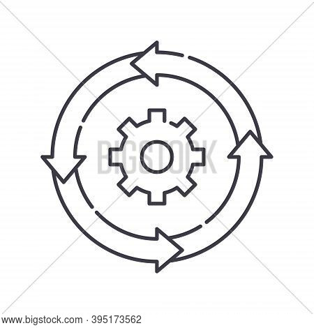 Iteration Cycle Icon, Linear Isolated Illustration, Thin Line Vector, Web Design Sign, Outline Conce