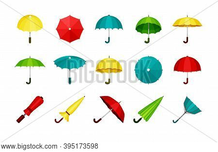 Umbrellas Set. Folded And Unfolded Modern Automatic And Retro Convenient Green Protection Rain And S