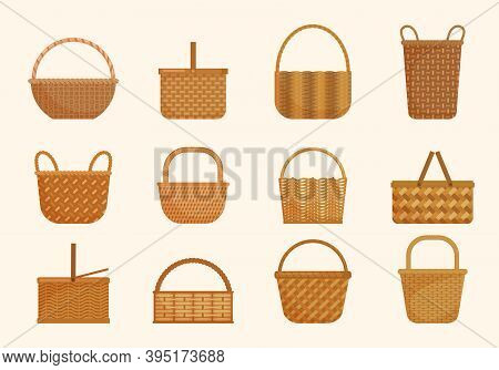 Ethnic Wicker Baskets Set. Large Volumes And Small Basket For Berries Yellow Knapsacks In Decorative