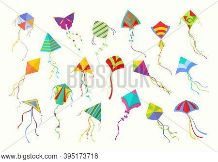 Flying Kites Set. Beautiful Geometric Shaped Fixtures Colored Fun For Launching Into Sky Paper Cardb