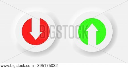 Download And Upload Vector Icon On Neumorphism Style Buttons Illustration.