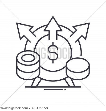 Profit Margin Icon, Linear Isolated Illustration, Thin Line Vector, Web Design Sign, Outline Concept