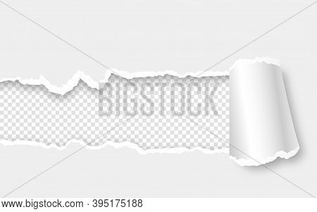 Ripped Paper With Torn Sides Over Transparent Background With Space For Text And Shadow. Realistic V