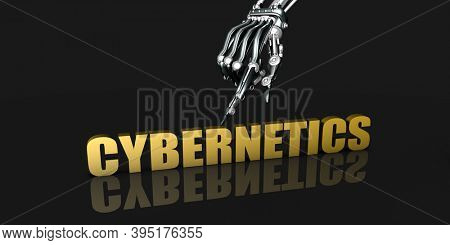 Cybernetics Industry with Robotic Hand Pointing on Black Background 3d render