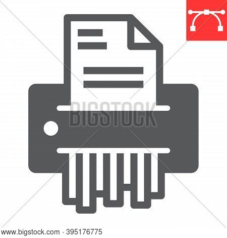 Paper Shredder Glyph Icon, Security And Paperwork, Document Shredder Sign Vector Graphics, Editable