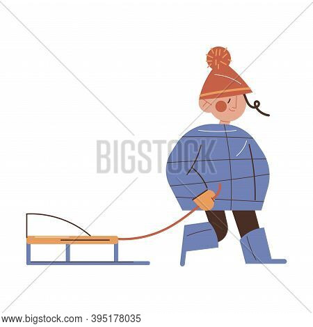 Girl Child Wearing Warm Jacket, Boots And Cap Carrying Sledding During Walk
