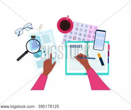 Financial Audit Or Personal Budget Planning Vector Concept With Hands, Notepad, Magnifier, Calendar.