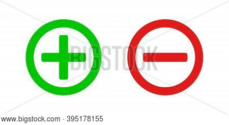 Plus And Minus Vector Isolated Green And Red Icon, Calculation Symbol Marks Illustration