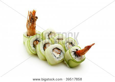 Japanese Cuisine - Sushi Roll with Shrimps and Cream Cheese inside, Cucumber outside