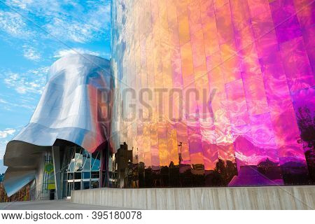 Seattle, Washington State, United States - July 08, 2012: Facade Of The Emp Museum Designed By Frank