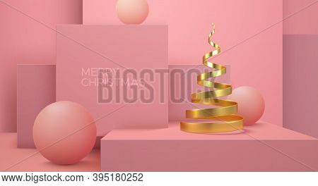 Merry Christmas. Vector Holiday Illustration. Geometric 3d Primitives Concept. Minimal Style Abstrac