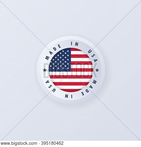 Made In United States. Usa Made. Usa Emblem, Label, Sign, Button, Badge In 3d Style. United States F