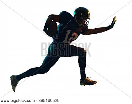 one afro american football player man in studio silhouette shadow isolated on white background