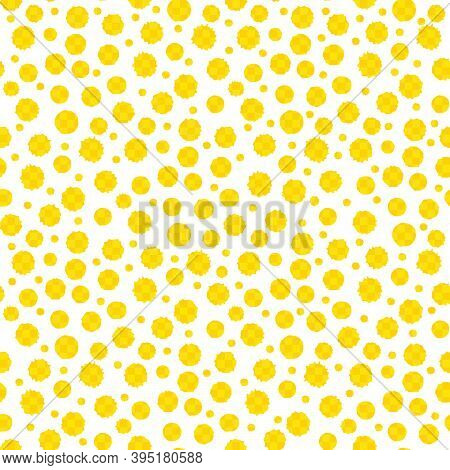 Yellow Paint Spatter Gingham Textured Vector Circles Seamless Pattern Background. Textural Organic P