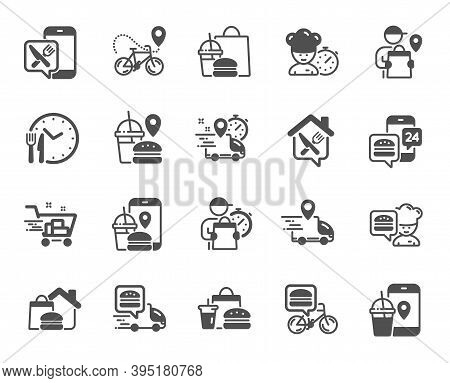 Food Delivery Icons. Courier, Deliveryman, Grocery Retail. Delivery Truck, Meal Bag, Home Food Order