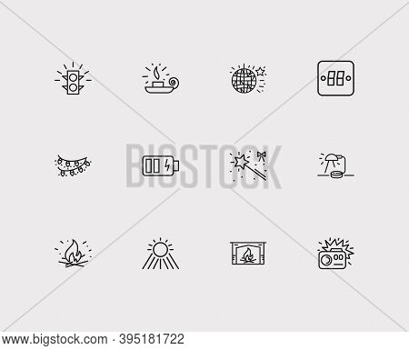 Light Icons Set. Traffic Light And Light Icons With Table Lamp, Sunlight And Light Switcher. Set Of