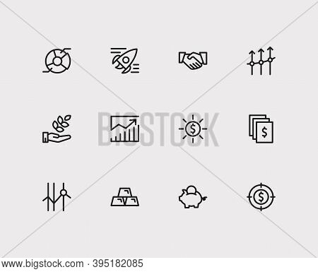 Economy Icons Set. Investment Target And Economy Icons With Business Progress, Profit And Gold. Set