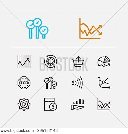 Finance Trading Icons Set. Chart And Finance Trading Icons With Bid-ask Spread, Sell And Volatility.