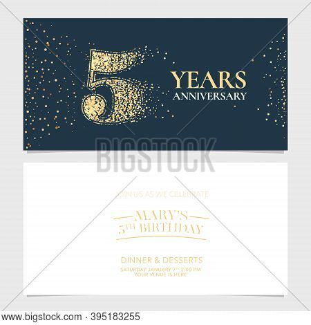 5 Years Anniversary Vector Logo, Icon. Graphic Design Element With Number For 5th Anniversary