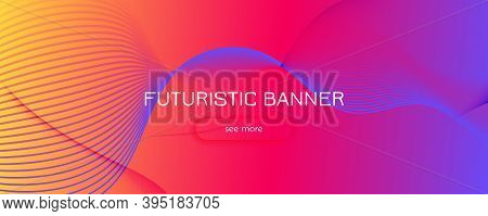 Colorful Fluid Shape. Flow Abstract Layout. Vector Geometric Lines. Digital Fluid Shape. Wavy Patter