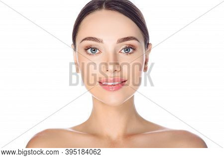 Beauty Face Skin. Portrait Of Beautiful Brunette Woman With Flawless Skin, On White Background