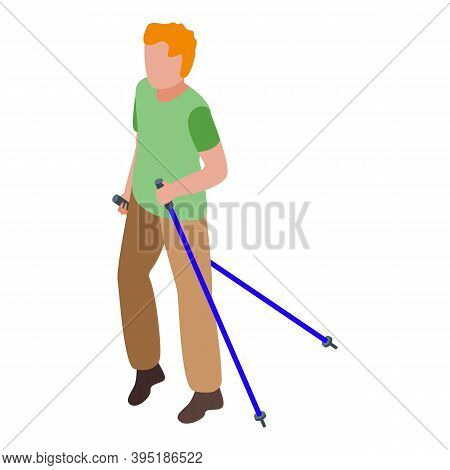 Nordic Walking Icon. Isometric Of Nordic Walking Vector Icon For Web Design Isolated On White Backgr