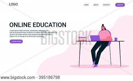 Remote Work Or Online Education Concept. Woman Working At Home Office, Looking At Computer Screen An