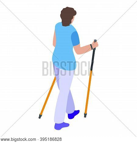 Girl Nordic Walking Icon. Isometric Of Girl Nordic Walking Vector Icon For Web Design Isolated On Wh