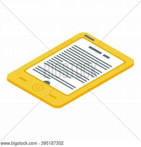 Plastic Ebook Icon. Isometric Of Plastic Ebook Vector Icon For Web Design Isolated On White Backgrou