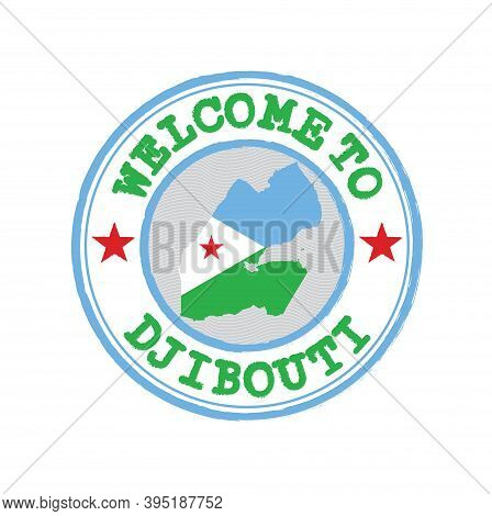 Vector Stamp Of Welcome To Djibouti With Map Outline Of The Nation In Center. Grunge Rubber Texture