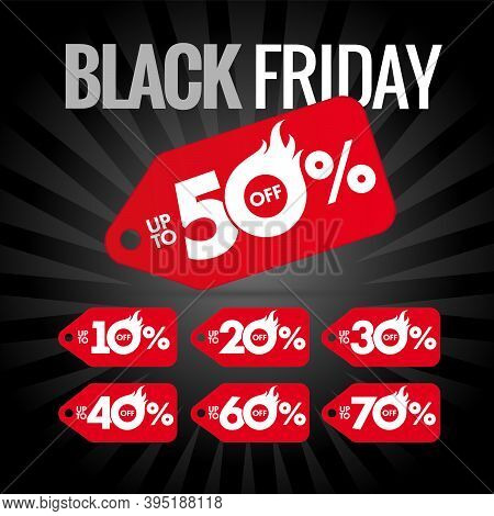 Black Friday Discount Label Hot Sale, Up To 50% Off. Special Offer Red Labels For Black Friday Desig
