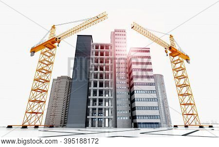 3d Render Of Conceptual Skyscrapers And Buildings Under Construction. Low Angle Shot Of Construction