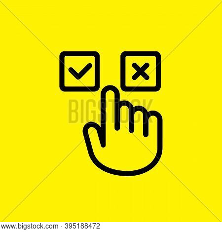 Accept And Decline Buttons Icon. Yes Or No Click. Approve And Delete. Hand Pushing Button. Vector On