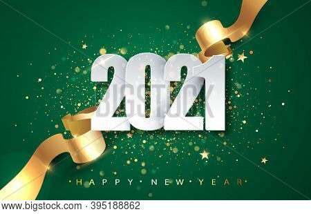 2021green Christmas, New Year Background . Greeting Card Or Poster With Happy New Year 2021 With Gol