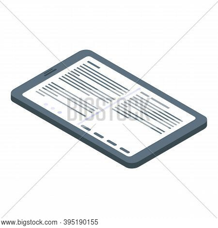 Big Screen Ebook Icon. Isometric Of Big Screen Ebook Vector Icon For Web Design Isolated On White Ba