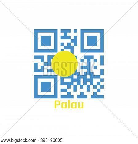Qr Code Set The Color Of Palau Flag. A Light Blue Field With The Large Yellow Disk Shifted Slightly